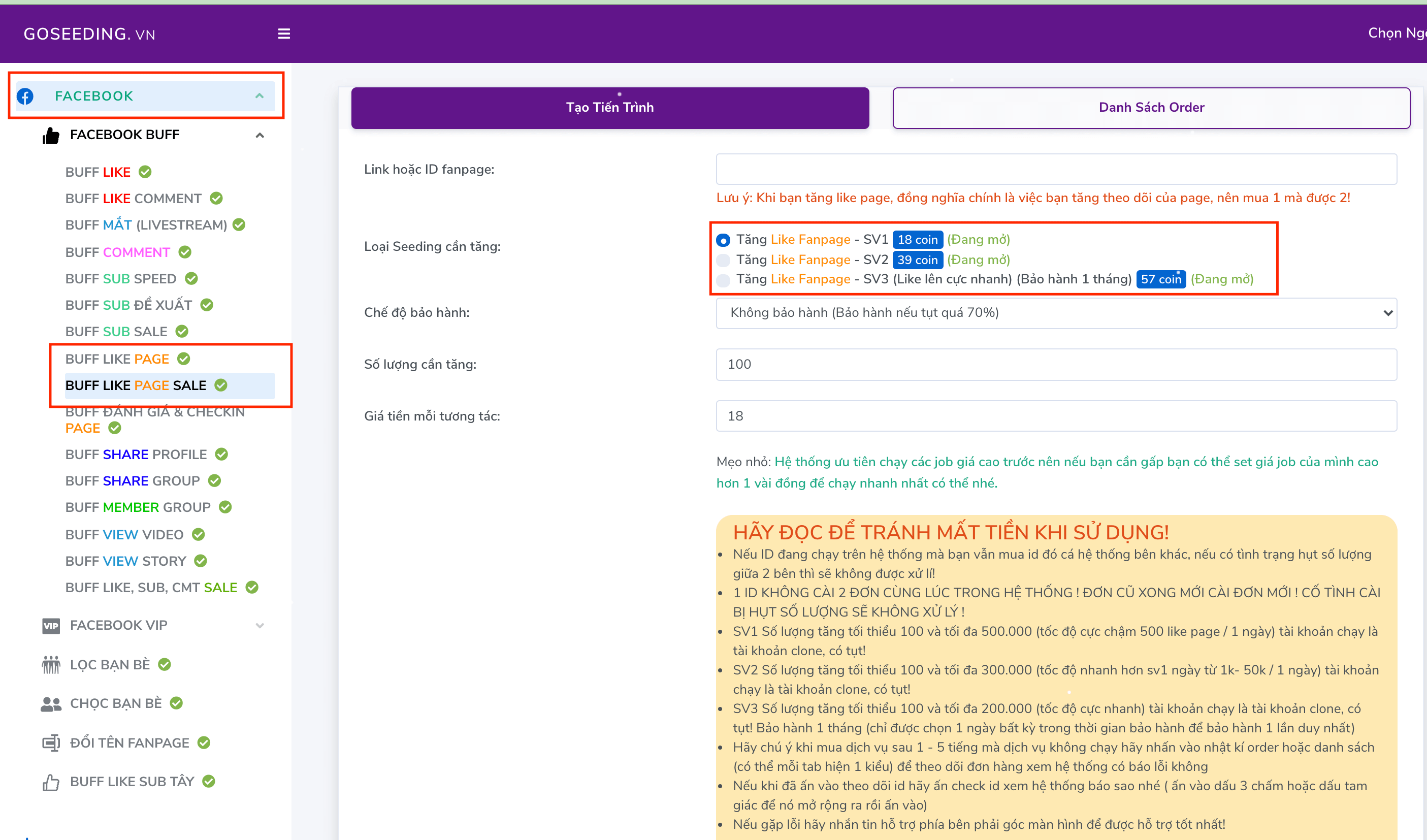 Tăng Like Page Goseeding.vn