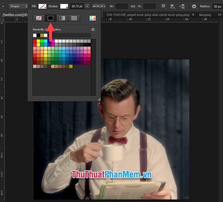 Chọn Stroke để lựa chọn màu sắc tạo cho khung viền