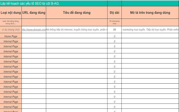 Mẫu kế hoạch SEO On-page