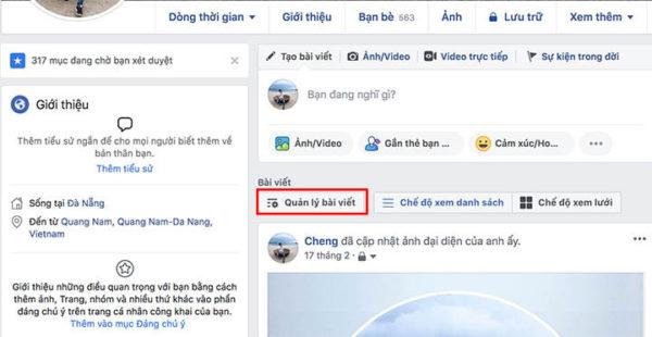Tính năng quản lý bài viết trên Facebook