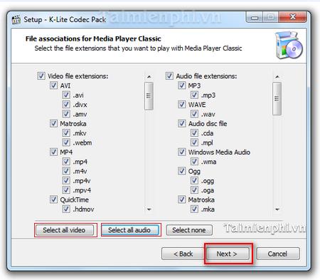 cài k-lite codec pack cho WMP 12