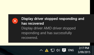 """Lỗi """"Display driver stopped responding and has recovered"""""""